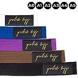 金质 BJJ Jiu Jitsu 腰带 - 优质厚重 IBJJF 法律腰带 - 白色、蓝色、紫色、棕色、黑色 - A0、A1、A2、A3、A4、A5 - 条纹排名条