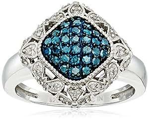 标准纯银蓝色和白色钻石靠垫戒指(1/ 2克拉总重,颜色为 j-k ,净度 I2-I3净度),尺码7