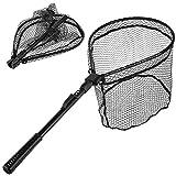 MelkTemn 可折叠钓鱼网,鱼网可折叠可伸缩伸缩伸缩杆手柄(41.9 x 98.04 厘米)耐用尼龙网状鱼捕鱼网(Hoop 为 39.88 x 38.1 x 23.9 深度)