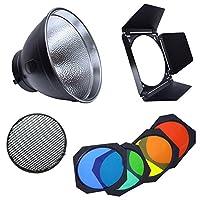 Fotoconic 7 英寸标准反射弓架,带雨伞孔和 BD-04 Barndoor 带蜂窝网格和彩色滤镜凝胶套装