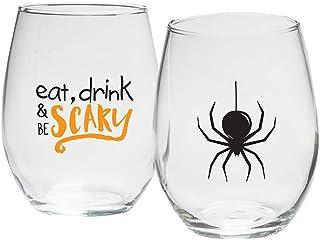 Kate Aspen MC30023NA-SCRY 万圣节,15 盎司 Stemless(2 件套)酒杯,均码,黑色,橙色
