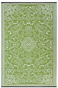 Fab Habitat Murano Recycled Plastic Rug, Lime Green & Cream, (3' x 5')