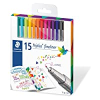 Staedtler 施德樓 Triplus 勾線筆 334 SB10 桌面適用,盒裝 標準包裝 Pack of 15 多種顏色
