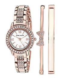 Anne Klein 女士施華洛世奇水晶重音手鏈手表手鐲套裝,AK / 3334BHST,玫瑰金