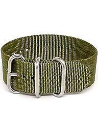 DaLuca 弹道尼龙* 1 件式表带 - 橄榄色(亚光扣):22 毫米