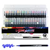 24 色*记号笔水彩柔软柔性笔尖笔套装 - 细腻宽广的线条,鲜艳的颜色 - 儿童和成人彩色书,漫画,书法,艺术 多种颜色 48 Color Marker Set SM-148