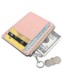 AnnabelZ 女士修身真皮信用卡卡包卡套前口袋钱包带钥匙扣拉链