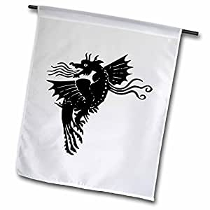 florene 儿童艺术–黑色 Fire *龙–旗帜 12 x 18 inch Garden Flag