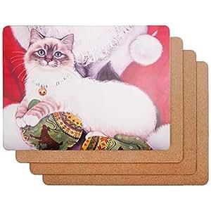 Caramella 泡泡经典设计硬质纤维板软木餐垫 4 件套 猫咪