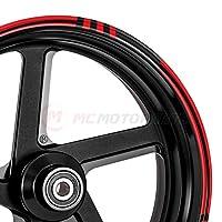 MC Motoparts 2 套 8 件 43.18 厘米轮辋条纹贴纸带 DIY STRIPE02 图案适用于雅马哈川崎杜卡迪本田 STRIPE 02 MCWSASTRIPE02BKRD17-AM001