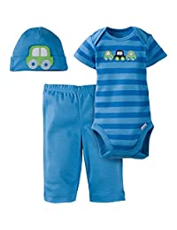 GERBER 婴儿男孩3件连体衣棒球帽和裤子套装