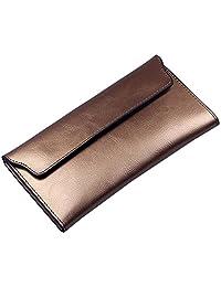 Bzybel 女式皮革信封三折钱包手拿包长款淡紫色