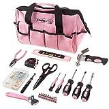 Stalwart 工具包 - 123 粉红色热处理部件带便携包 - 用于公寓、宿舍和房主的基本钢手工具及修理套装