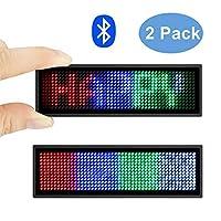 蓝牙 LED 姓名徽章 Multicolored 2 Pack