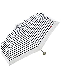 【亚马逊进口直采】W.P.C 世界派对 拉链包 短小 折叠伞 手动打开 条纹心形图案 奶白色 6根骨架 50cm 轻型折后长22.5cm