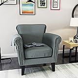 Christopher Knight Home 302569 Brice-Ckh 臂椅,钢蓝色/深棕色