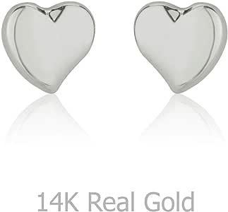 14K 纯白金心形螺丝背耳钉 女孩 儿童礼物