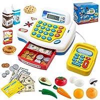 Toy Cash Register 购物假装游戏,3 种语言,扫描仪,卡片阅读器和杂货玩具食品套装,适合儿童和女孩,幼儿互动学习,圣诞节快乐。