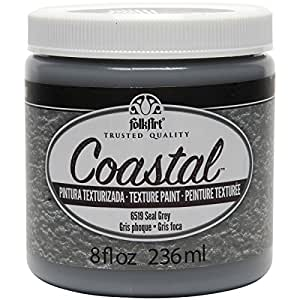 FolkArt 海岸纹理涂料,226.8 克,大蓝色 Seal Grey 8盎司 6519