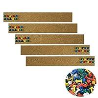 5 件软木板无框软木公告杆,40 件推针,软木条适用于办公室学习家居墙壁装饰(2 x 15 英寸/5 x 38 厘米)
