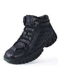 西漠公牛XIMOBULL 男士冬季户外靴子 头层牛皮 加毛保暖 防滑老人棉靴 1199/X/80DP