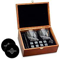 威斯基石和威士忌玻璃礼品盒套装 - 8 个花岗岩 + 2 个木质盒子水晶眼镜 - 送给父亲节、父亲生日或父亲的任何时候都很棒的礼物