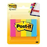 Post-it Page Markers, Assorted Bright Colors, 1/2 x 1 3/4-Inches