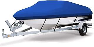 VINGLI 可拖车 Runabout 船罩 重型 600D 涤纶防水 防紫外线 海洋级,耐用防撕裂,适合 17-19 英尺 V 型船体,三轮船钓鱼滑雪专业风格低音船 - 蓝色