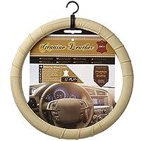 Sumex Car + 真皮棕褐色米色方向盘套适合 36.83 cm - 38.74 cm (M)
