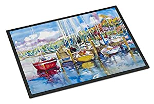 "Caroline's Treasures Paradise Yacht Club Sailboats Indoor or Outdoor Mat, 18"" x 27"", Multicolor"