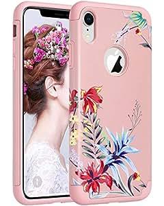 ULAK iPhone XR 纤薄保护套,混合保护软硅胶硬质后盖防刮防撞设计保护套适用于 Apple iPhone XR 6.1 英寸 2018Apple iPhone XR, iPhone XR 6.1 inch Rose Gold Floral