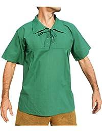 Raan Pah Muang 浅平纹棉质宽尖领中世纪文艺复兴衬衫