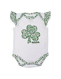 白绿爱尔兰花卉图案三叶草贴花婴儿背心连体衣
