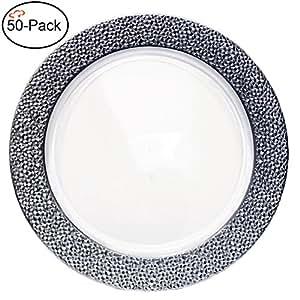 Tiger Chef 2 件装 33.02 厘米钻石塑料充电器盘子 2 件套,2件套,4,6,12或24件,适用于派对、婚礼和特别活动 Clear with Silver Hammered Rim 大 0026-3630@50CT