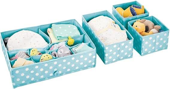 mDesign 柔软织物梳妆台抽屉和衣柜存储收纳盒,适用于儿童/儿童房、托儿所 - 包括大号和小型整理架 Turquoise/White 4 件套 06141MDB