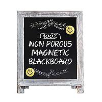 磁性黑板标志,38.10 厘米 x 30.48 厘米木质框架黑板带粉笔标记和 2 个表情符号,乡村风格粉笔板画架适用于菜单厨房婚礼农舍装饰品、桌面或墙壁悬挂陈列 Limed