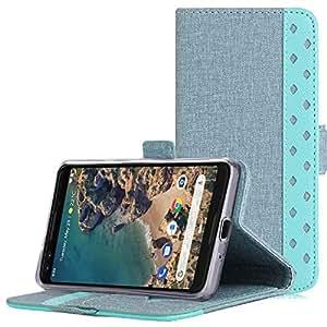ProCase Flip Case 谷歌 Pixel 3 翻折钱包保护盖谷歌 Pixel 3(2018版)卡槽现金夹支架 蓝*