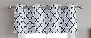 HLC.ME 格子图案 热销扣眼遮光帷幔 适用于小窗 - 132.08cm 宽 x 45.72cm 长