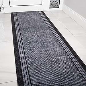 Rug House 灰色橡胶底超长走廊小地毯定制长度 - 按英尺出售和定价 Length: 13' (396cm) TRH P NEW RRQ2 Grey 13ft