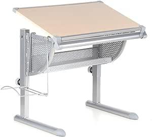 hjh OFFICE, 705110, 办公桌电脑书桌工作台工作空间桌面儿童学校, BELIA, beech, 钢 + mdf, 符合人体工程学的可平铺桌面储物, 可调节书写, 绘画家庭家具, 书包存储 + 实用托盘