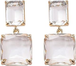 原创设计方形水晶耳环带镀金魅力女士女孩时尚珠宝