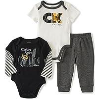 Calvin Klein 婴儿男孩 2 件纯色连体衣 + 长裤套装