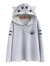 GK-O 日本莫莉女孩可爱帽子毛衣衬衫猫爪印花连帽上衣