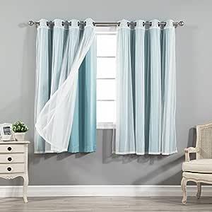 *的家居时尚混搭薄纱透明薄纱蕾丝和遮光窗帘4件套–不锈钢镍顶部