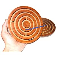 圆形迷宫迷宫棋盘游戏木制玩具*先锋拼图游戏 - 送给孩子和成人布哈蒂亚手工艺品的礼物 Rosewood Brown 6 inch BHGU001