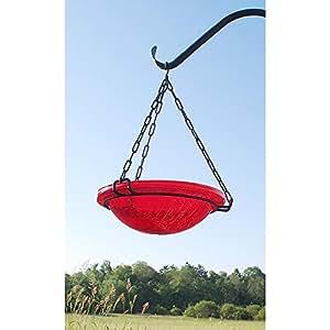 Achla Designs 裂纹玻璃挂鸟浴缸 红色 BBH-02R
