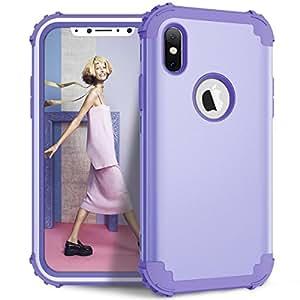 iPhone X 手机壳,HLHGR 【防摔】【重型】3 合 1 混合双层装甲保护壳硬质电脑硅胶全机身保护高冲击保护套适用于 Apple iPhone X 紫色