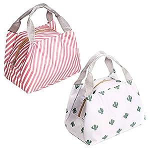HappyDaily 可爱可重复使用午餐袋 防水午餐袋 午餐袋 午餐袋 午餐袋 拉链收纳袋 适合女士或男士,适合儿童或成人 Pink Stripe+White Cactus 4344933425