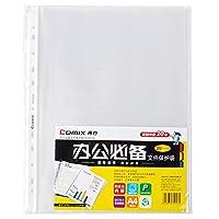 齐心EH303A-1文件袋A4文件 保护套11孔透明活页袋资料保护袋 1袋(100个)