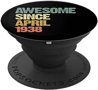 Awesome Since 1938 年 4 月 81 岁生日礼物 PopSockets 手机和平板电脑握架260027  黑色